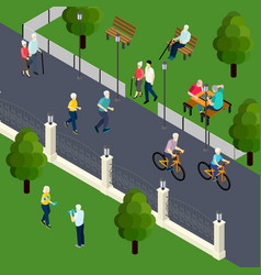 Pensioners leisure activity isometric vector