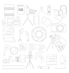 Photography icon set with photo camera equipment vector image