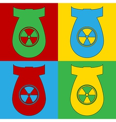 Pop art atom bomb icons vector