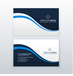 Professional business card design with blue wave vector