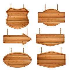 realistic wooden boards advertizing banners with vector image