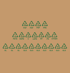 recycling codes vector image