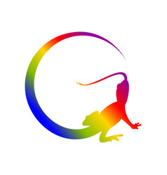 Reptile crescent tail rainbow letter g initial vector