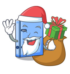Santa with gift office binder file isolated on vector