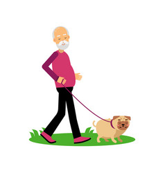 Senior man walking with dog elderly people active vector