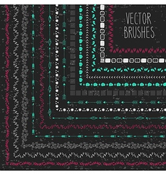 set hand drawn brushes with corner tiles in a vector image