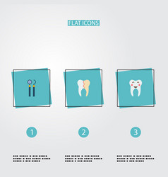 Set of dental icons flat style symbols with mirror vector