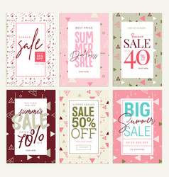 set of mobile ads and posters summer sale banners vector image