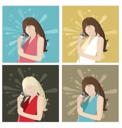 singer girl and flat design style vector image