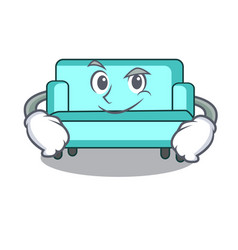 smirking sofa character cartoon style vector image