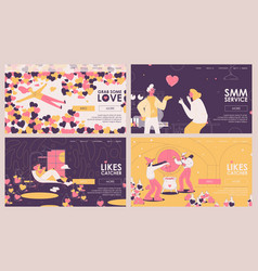 Smm agency banners or landing page templates vector