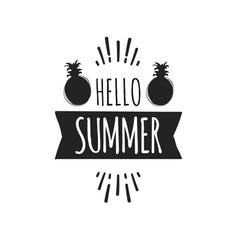 summer fun sticker pineapple badge hand drawn vector image