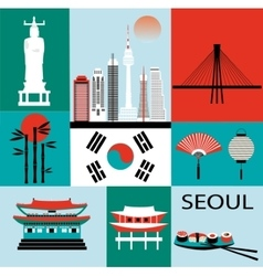 Symbols of Seoul vector image