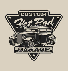 T-shirt design with a hot rod in vintage style on vector