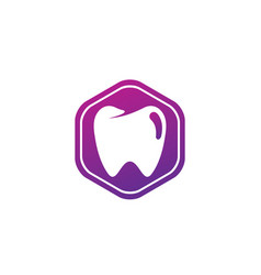 teeth care symbol in hexagon for dentist vector image