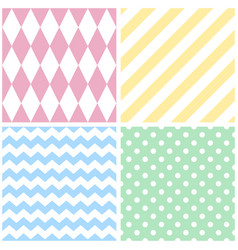 Tile pattern with chevron zig zag polka dots vector