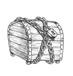 Treasure chest protected metal chain ink vector
