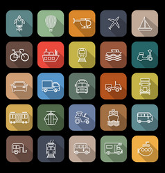 vehicle line flat icons with long shadow vector image