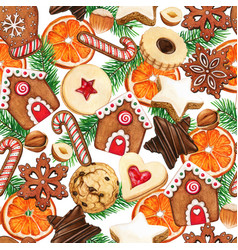 watercolor high quality christmas cookies orange vector image