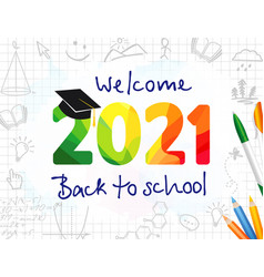 welcome back to school 2021 banner vector image