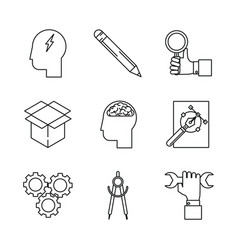 white background with monochrome icons of creative vector image