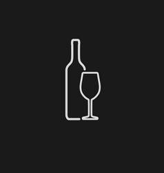 wine bottle and wineglass white icon isolated vector image