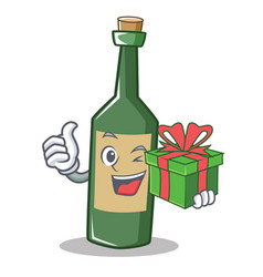 With gift wine bottle character cartoon vector