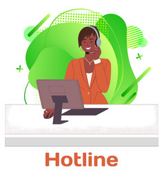 woman call center or hotline operator works in vector image