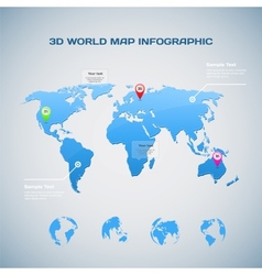 World map infographic with Globe icons vector