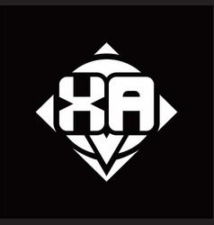 Xa logo monogram with circle shape and square vector
