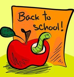 Back to school worm in apple vector image vector image