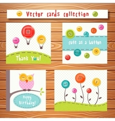 cards collection with cute buttons Perfect vector image