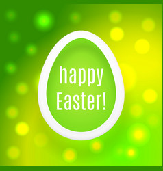 happy easter egg on green background with bokeh vector image vector image