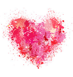 heart made of spray and drops grunge background vector image