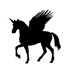 pegasus unicorn silhouette mythology symbol vector image