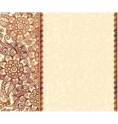 Vintage henna tatto mehndi flowers background vector image vector image