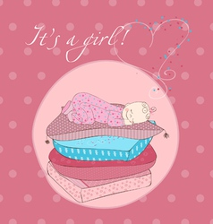 baby girl sleeping on pillows card in pink vector image