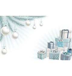 christmas silver blue corner elements vector image vector image