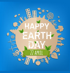 happy earth day postcard vector image