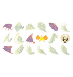 wings icon set cartoon style vector image