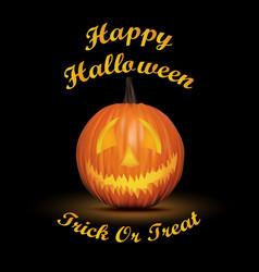 halloween black background with pumpkin vector image vector image