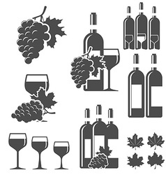 Set of wine signs badges and labels vector image