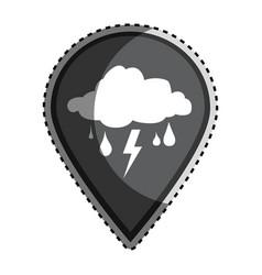 Sticker monochrome mark icon pointer gps with rain vector