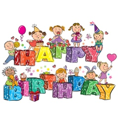 Happy Birthday kids on letters vector image
