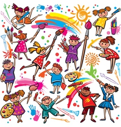 Happy children drawing with brush and colorful vector image vector image