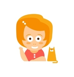 Little Red Head Girl In Red Dress Waving And vector image