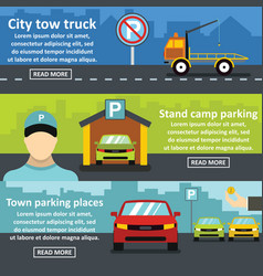 parking tow banner horizontal set flat style vector image