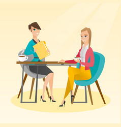 Two businesswomen during business meeting vector
