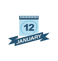 12 january calendar with ribbon vector