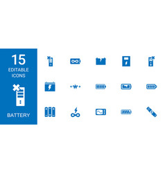 15 battery icons vector
